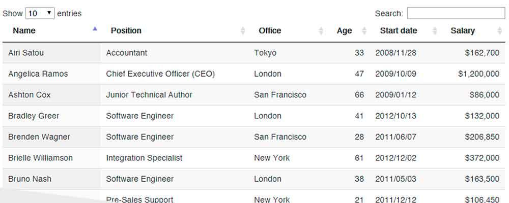 DataTables: Busca, filtragem, paginação e estilização de tabelas